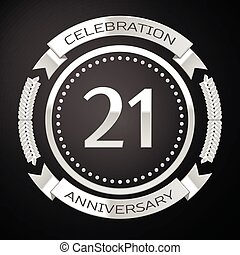 Twenty one years anniversary celebration with silver ring...
