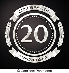 Twenty years anniversary celebration with silver ring and ribbon on black background. Vector illustration
