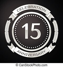 Fifteen years anniversary celebration with silver ring and ribbon on black background. Vector illustration