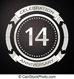 Fourteen years anniversary celebration with silver ring and ribbon on black background. Vector illustration