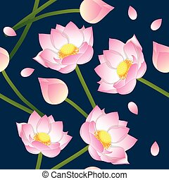 Pink Indian lotus on Indigo Blue Background. Vector Illustration