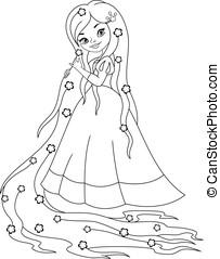 coloração, princesa,  rapunzel, página