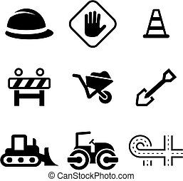 Road Construction Icons - This image is a illustration and...