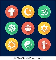 Religion Icons Flat Design Circle - This image is a...