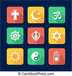 Religion Icons Flat Design - This image is a illustration...