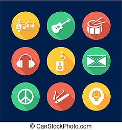 Reggae Icons Flat Design Circle - This image is a...
