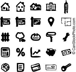 Real Estate Market Icons Freehand Fill