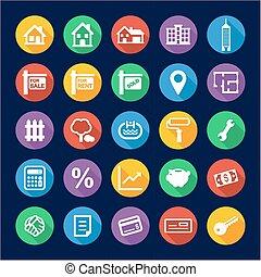 Real Estate Market Icons Flat Design Circle