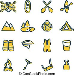 Rafting Icons Freehand 2 Color - This image is a...