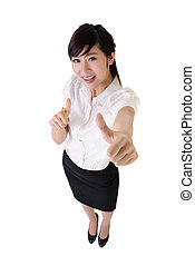 Happy business woman give you double excellent gesture