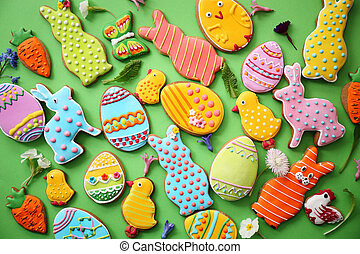 Easter cookies. Top view - Easter variety of cookies on a...
