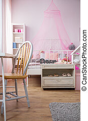 Room for ballet dancer with bed and commode