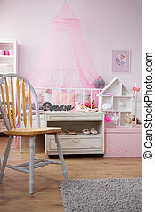 Stylish bedroom interior with ballet decorations for young...