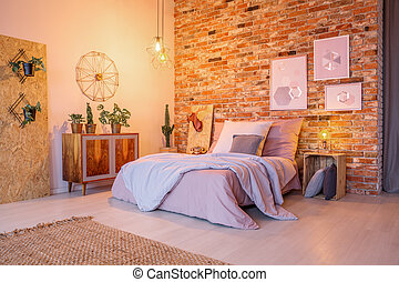Bedroom with wood and brick