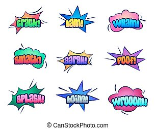 Cartoon stars and cloud bubble speeches - Set of isolated...