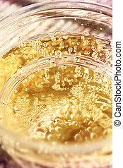 Golden sparkling drink