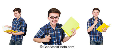 The young student with book on white