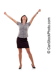 business woman celebrating success - Pretty joyous business...