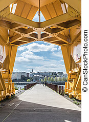 Under the yellow crane titan in Nantes (France)