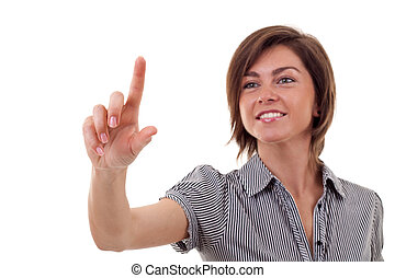 woman pressing imaginary button - business woman pressing a...