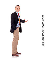 business man presenting - Happy business man presenting and...