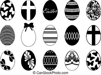 Set of different easter eggs