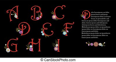 Embroidery vintage alphabet set. Initial drop cap decorative flowers. Ornate red vector illustration letters signs A B C D E F G H I floral design