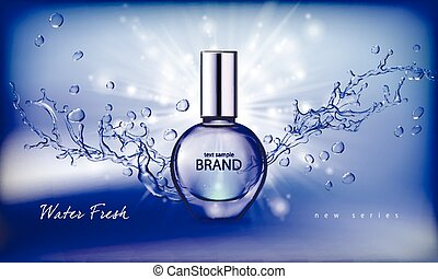 Vector illustration of a realistic style perfume in a glass...