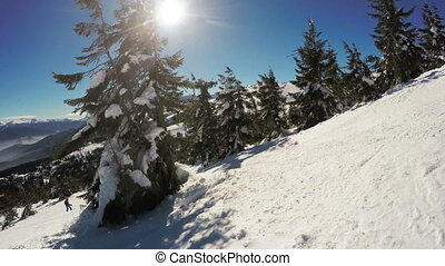 Snow-covered slope - Descent on the snow-covered slope and...