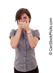 speak no evil - Young business woman covering her mouth with...