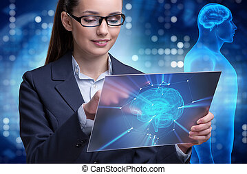The businesswoman in artificial intelligence concept -...