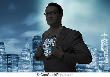 The businessman in teamwork concept with cogwheels -...