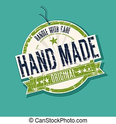 Hand made product tag, vector