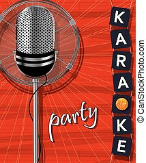Karaoke party, vector background illustration