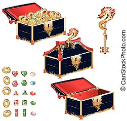 Wooden treasure chest set
