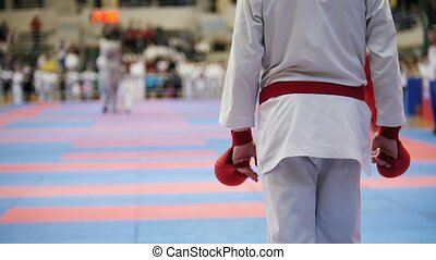Sports teenagers - kid sportsmen at karate tatami - ready...