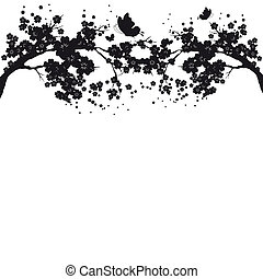 beautiful flower branch ,black silhouette, on a white