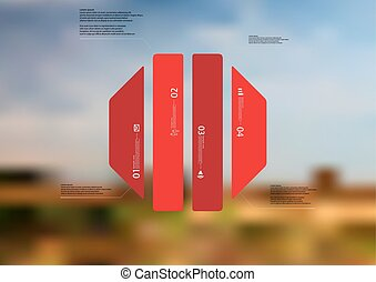 Illustration infographic template with octagon vertically divided to four standalone red parts