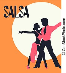 Salsa dancers card - Salsa Poster. Elegant couple dancing...