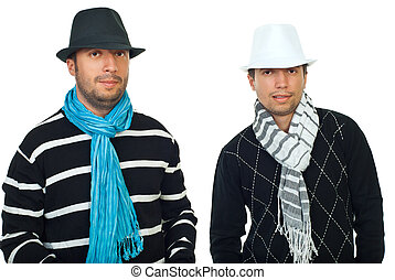 Beauty two men in hats and scarves - Handsome men in hats...
