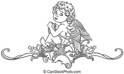 little angel outline - cartoon little angel sitting on...