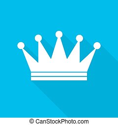 Crown icon. Vector illustration. - White crown icon in flat...