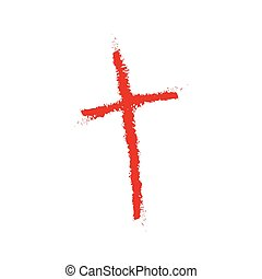 Hand drawn Christian cross icon. illustration. Hand drawn...