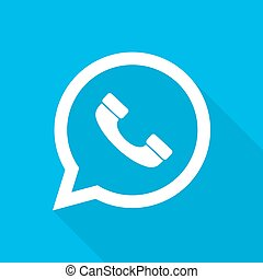 Handset icon. Vector illustration - White handset icon in...