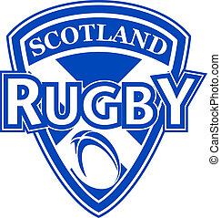 Scotland rugby ball shield - illustration of an icon showing...