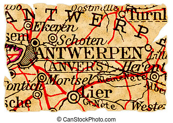 Antwerp old map - Antwerp, Belgium on an old torn map from...