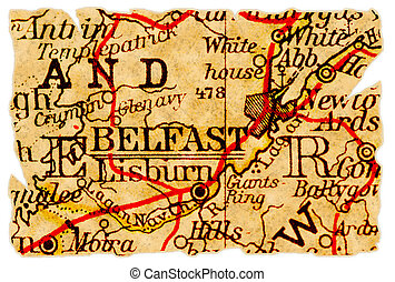 Belfast old map - Belfast, Norhtern Ireland on an old torn...