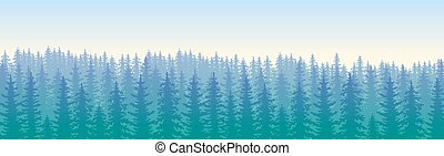 The blue wildforest landscape - The forest with the rows of...