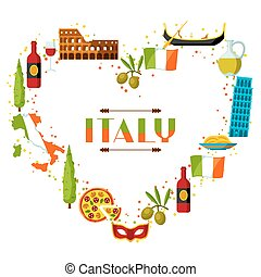 Italy background design. Italian symbols and objects.