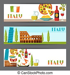 Italy banners design. Italian symbols and objects.